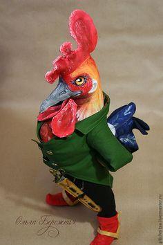Петрович - ярко-красный,петух,птица из ткани,текстильная птица,авторская игрушка