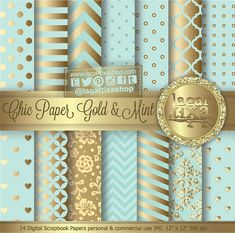 Gold Mint Pale turquoise Teal Digital Paper by LagartixaShop