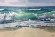 Waves Crashing on the Beach by Antonio Soler Oil Pastel Paintings, Seascape Paintings, Ocean Art, Ocean Waves, Landscape Art, Landscape Paintings, Watercolor Wave, Waves Photography, Triptych Wall Art