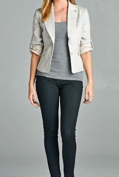 Fitted Crop Blazer in Silver Gray