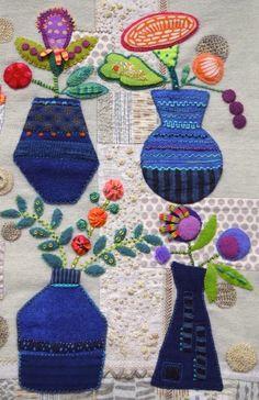 Indigo Vases Quilt by Sue Spargo More