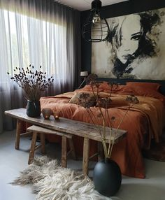 Inspirational ideas about Interior, Interior Design and Home Decorating Style for Living Room, Bedroom, Kitchen and the entire home. Curated selection of home decor products. Room Decor, Interior Design, Bedroom Decor Design, Bedroom Orange, Apartment Decor, Eclectic Bedroom, Bedroom Inspirations, Bedroom Design, Home Decor