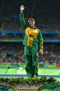Silver medalist, Sunette Viljoen of South Africa, poses on the podium during the medal ceremony for the Women's Javelin Throw on Day 14 of the Rio 2016 Olympic Games at the Olympic Stadium on August 19, 2016 in Rio de Janeiro, Brazil.