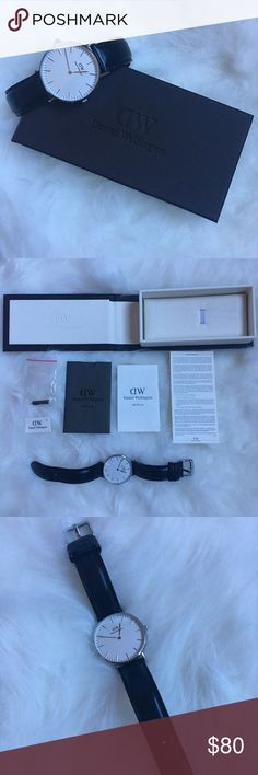 Daniel Wellington 36mm Classic Black Watch I'm selling my gently used Daniel Wellington watch! Only been worn for maybe a month just looking to get a different one. Real leather band and beautiful minimalistic display. This watch has only a couple minor flaws! A few scratches on the back of the watch (because I had issues opening the battery back when I first got it lol) and the leather band has a bit of creasing. Daniel Wellington Jewelry Bracelets