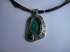"Silver PMC and glass ""amoeba"" pendant"