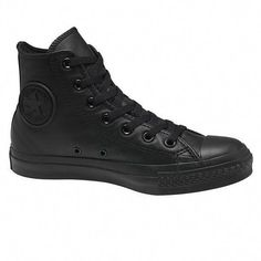 7a9f71a2e3e82a Converse Chuck Taylor High Top - Mono Leather Black  Sneakers Converse  Leather High Tops
