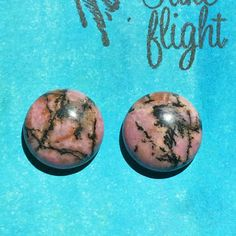 "Pink & Brown/Black Rhodonite 5/8"" Domed Round Statement Stud Earrings!! Hypoallergenic Steel Packings! TAKE FLIGHT by TakeFlightStudioWA on Etsy"