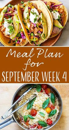 Here's your meal plan for the last week of September! You can look forward to Angel Hair Pasta with Cherry Tomatoes, Skirt Steak Skewers, Skillet Pork Chops and Cabbage, and more! Cherry Tomato Pasta, Cherry Tomatoes, Steak Skewers, Weekly Dinner Menu, Angel Hair, Skirt Steak, Simply Recipes, Recipe Collections, Good Healthy Recipes