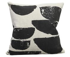 The painterly, graphic Boating pillow was designed by Elisabeth Dunker for Fine Little Day. The removable pillow cover is made from a wonderful heavyweight cott