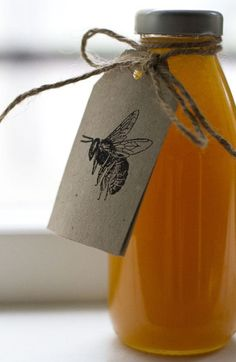Honey Label with Bee by Lis Pikkorainen My Honey, Milk And Honey, Honey Bees, Uses For Honey, Pure Honey, Wild Honey, Golden Honey, Local Honey, Honey Hair