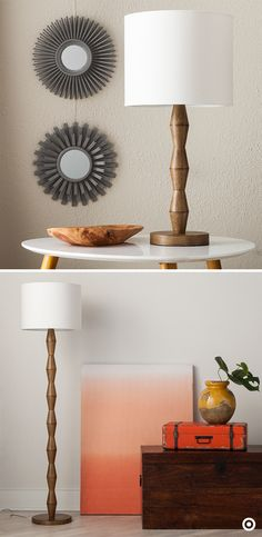 Geometric design and natural wood lend lamps a touch of mid-century modern luxe. Neutral never means boring when sharp columns contrast with warm light. A floor lamp across the room from a matching table lamp makes for complementary counterpoints that tie a scene together. Create contrast with a bold pop of color on the wall. Modern natural materials are the sophisticated style on trend for fall.