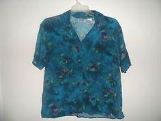UNITS-Blue-Floral-Short-Sleeve-Casual-Rayon-Blouse-Regular-L-VGC-332 pd $4.90