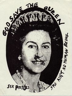 Jamie Reid 'God Save The Queen' Print. Colorful and graphic silk screen print of the Queen with a safety pin through her lip. Punk Rock, Jamie Reed, Pictures Of Queen Elizabeth, Elizabeth Ii, God Save The Queen, Promotional Stickers, Arte Punk, Pop Art, Punk Poster