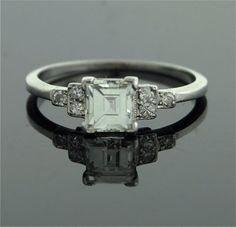 Antique Engagement Ring - Asscher Cut Diamond in Platinum Setting.