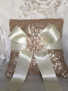 custom rose gold blush sequin and silk ivory ring bearer pillow with brooch ring pillow rose gold wedding accessory