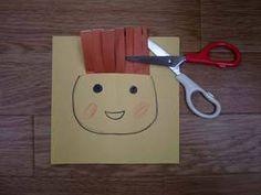 1~3歳の子が楽しめる工作を紹介します。このくらいの年の子はひたすら紙をまっすぐに切っていきますよね。そうして切った長い紙を、切込みを入れた紙に写真のように通します。目鼻をつけると、髪の毛になります。「さんぱつ屋さんごっこ」です。髪がどんどん伸びてきますから、自由にはさみで切ってくださいね。