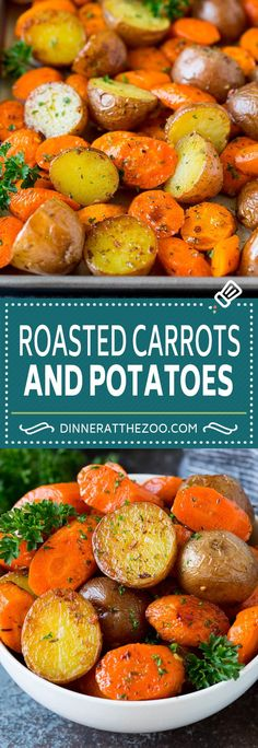 These roasted potatoes and carrots are coated in butter, garlic and herbs, then cooked until golden brown and tender. Roasted Vegetable Recipes, Veggie Recipes, Cooking Recipes, Potato Recipes, Potato Dishes, Roasted Vegetables, Easy Cooking, Fun Easy Recipes, Best Dinner Recipes