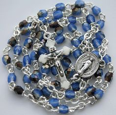 """Tiny Rosary (4mm beads and 1"""" inch crucifix). Made by Amy Hoffman of Yellowknife, NT.  $39.00"""