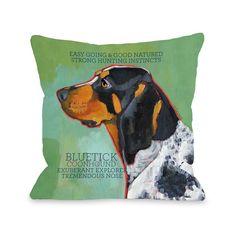 Bluetick Coonhound 2 Throw Pillow