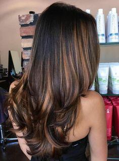 balayage miel, cheveux longs en couleur noire avec des mèches cuivrées