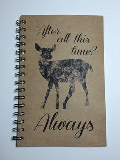 Always, Harry Potter Inspired Notebook, Harry Potter Journal, Notebook, Journal, gift, Harry Potter, Deer, Fandom, Sketchbook, Snape by MisterScribbles on Etsy https://www.etsy.com/listing/223149484/always-harry-potter-inspired-notebook