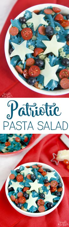 Patriotic Pasta Salad.  This would make a great dish for any summer holiday and especially for the 4th of July or Memorial day!
