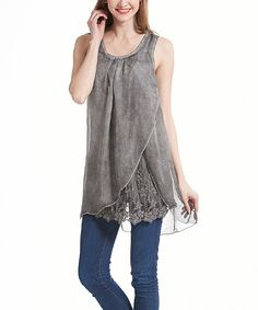 Look at this Simply Couture Gray Lace Layered Hi-Low Tunic on #zulily today!