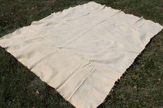 Vintage Cream Wool Army Blanket.