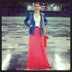 Falda larga+Chaqueta de jean!