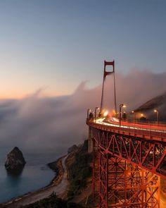 Sunrise at the Golden Gate by @brucegetty #sanfrancisco #sf #bayarea #alwayssf #goldengatebridge #goldengate #alcatraz #california