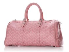 Goyard Pink Croisiere 35 - In a Limited Edition color, Goyard's Pink Croisiere 35 looks quite wonderful!  Coming with a dustbag, there is wear on the corners, edges, and by the silver buckles on the adjustable handles with a drop of four and a quarter inches.  Double zippers open the top to the yellow fabric lining with a zipped pocket inside.  Pink leather trim joins the pink logo canvas for this one – lucky choice for you!