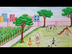 How to draw scenery of Children's play step by step - YouTube