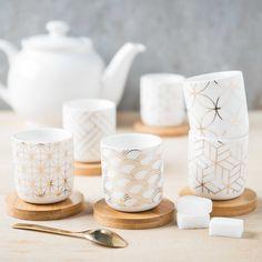 Coffret 6 tasses et soucoupes en porcelaine SONATE