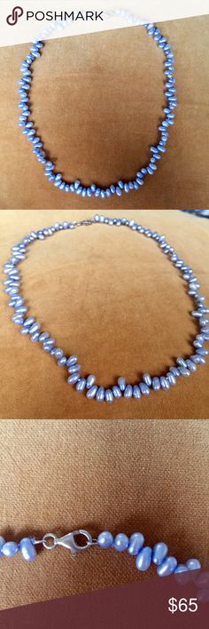 Blue Freshwater Pearl Necklace Stunning strand of sky blue freshwater pearls with silver clasp. Stamped 925. Jewelry Necklaces