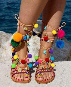 130€ Sandalias de cuero griego inspirado por el tropical playa de Kona, en las islas de Hawaii.  Sandalias gladiador decorada 100% impresionante química