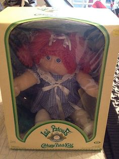 Cabbage Patch Kid My first one, I got at K-Mart after my Aunt fought a lady over her( she was the last girl doll left). The box was ripped and torn and her birth certificate was missing. But I got her anyway. Then we sent out for a birth certificate, and when it came back, her name was Heather Leigh Amber.