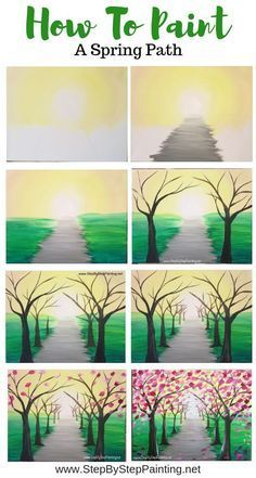 How To Paint A Spring Tree Path - Step By Step Painting Wie man einen Frühling. How To Paint A Spring Tree Path - Step By Step Painting How to Paint Easy Canvas Painting, Simple Acrylic Paintings, Spring Painting, Acrylic Painting Tutorials, Painting Techniques, Diy Painting, Canvas Art, Acrylic Canvas, Painting Tools
