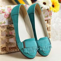 Smoothie Faux-Suede Moccasins >> What is it about turquoise flats that i just LOVE!?! $35