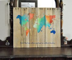 World Map Spirit lead me where my trust is by theheartsandcrafts, $80.00