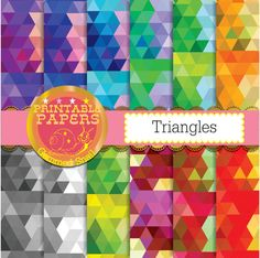 Triangle digital paper 'Triangles' triangle by GemmedSnail on Etsy