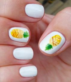 Hey guys, today I am going to show you a set of nails I did a couple of months ago. These are some of my favourite nails I did over the summ. Cute Nail Art, Cute Nails, Pretty Nails, Hawaii Nails, Hawaii Hawaii, Maui, Pineapple Nails, Image Nails, Halloween Nail Art
