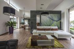 mur de pierre grise comme accent accrocheur derrière le canapé dans le salon minimaliste