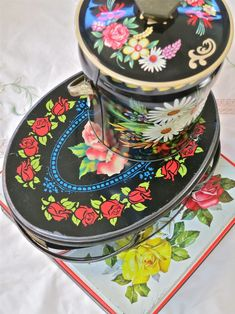 Pretty vintage tins from a vintage/antique market in Pennsylvania.
