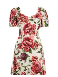 Dolce & Gabbana Peony and rose-print brocade dress