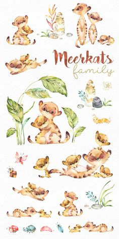Meerkats. Family. Watercolor animals clipart little meerkats | Etsy Animals Watercolor, Watercolor Art, Drawing Ideas List, Baby Animals, Cute Animals, Scrapbooking Stickers, T Shirt Painting, Cute Family, Art Graphique