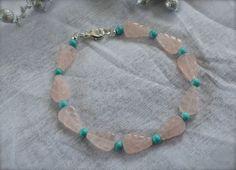 Carved Rose Quartz Leaf Robin Blue Bracelet by AROISProducts.