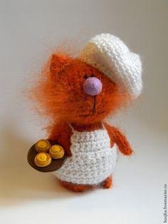 Котик кондитер - рыжий,рыжий кот,кот вязаный,повар,булочки,котик,котенок игрушка