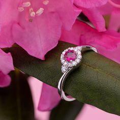Pierścionek złoty z rubinem i brylantami. Na zaręczyny, rubinowa miłość, Piękny złoty pierścionek z rubinem i brylantami.