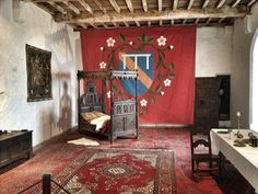 Occupied by Mary queen of scots in 1568..Bolton castle, bed chamber