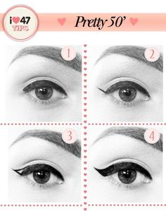 Easy way to apply winged eyeliner. Applying winged eyeliner has always been a task for me. Then i started using this technique, it really wo. hacks for teens girl should know acne eyeliner for hair makeup skincare Vintage Makeup, 1950 Makeup, 1950s Hair And Makeup, Retro Makeup, Perfect Winged Eyeliner, Winged Liner, Pin Up Eyeliner, Eye Liner, Neutral Makeup